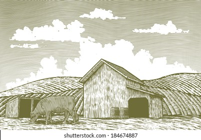 A woodcut-style illustration of a cow grazing in a barn yard.