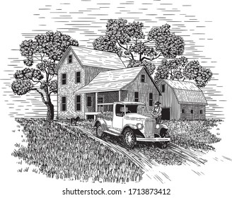Woodcut-style illustration of a farmer carrying his produce out to his truck with a farm house and barn in the background.
