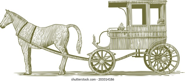 Woodcut-style illustration of a horse and buggy.