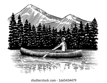 Woodcut-style illustration of a man canoeing with trees and mountains in the background.