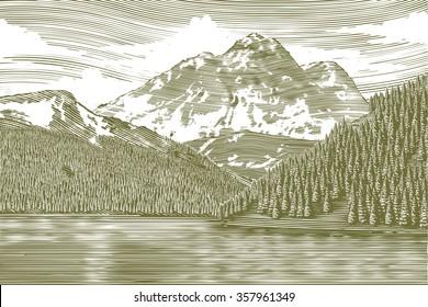 Woodcut-style illustration of a mountain lake landscape.