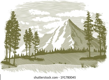 Woodcut-style illustration of a mountain landscape.