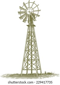 Woodcut-style illustration of an old farm windmill.