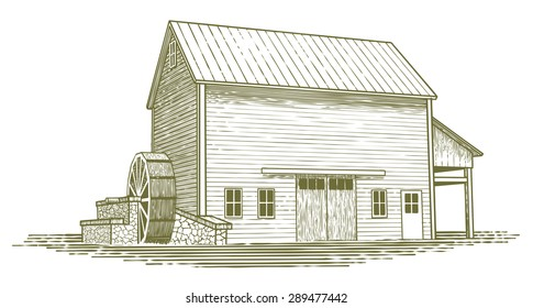 Woodcut-style illustration of an old water mill.