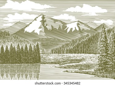 Woodcut-style illustration of a river with a mountain in the background.