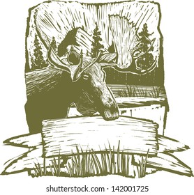 Woodcut-style illustration of a rough moose design background.