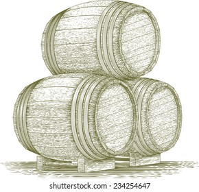 Woodcut-style illustration of a stack of wooden barrels.