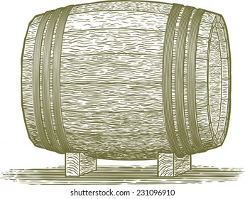 Woodcut-style illustration of a wooden whiskey barrel.