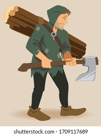 Woodcutter with Axe in his hands. Strong bearded woodcutter character with axe in his hand.
