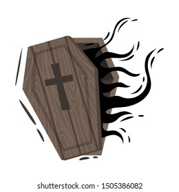Wooden ajar coffin. Vector illustration on a white background.