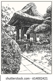 Wooden alcove in the Japan garden. Black and white dashed style sketch, line art, drawing with pen and ink. Retro vintage picture.