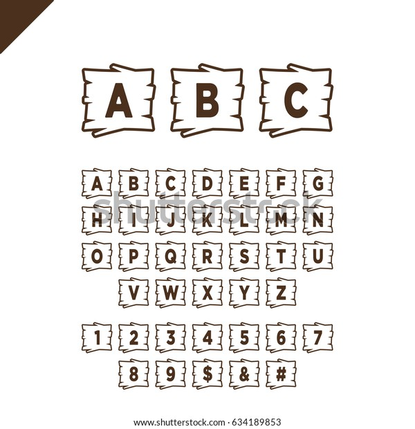 Alphabet Box Letter Font.Wooden Alphabet Blocks Letters Numbers Wood Stock Vector