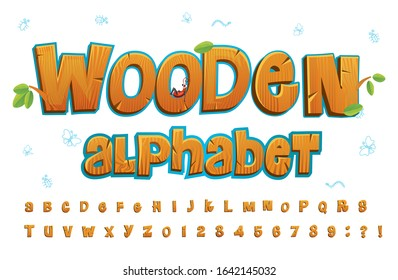 Wooden alphabet in cartoon style on white background vector illustration. Set of wooden capital letters and numbers cartoon style. Ant sitting on letter. Education concept
