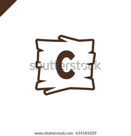 wooden alphabet or font blocks with letter c in wood texture area with outline