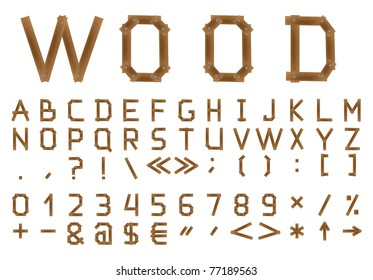 The wooden alphabet. Include numerals.