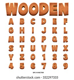 Wooden alphabet vector art and illustration.