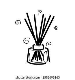 Wooden aroma sticks in glass jar. Liquid perfume oil. Essential air fragrance sticks aromatherapy. Alternative medicine. Spa and beauty Cartoon line vector pictogram isolated on white background.