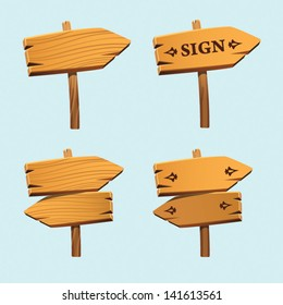 Wooden Arrow Sign pointer vector set. Arrows for illustration and web design