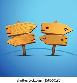Wooden Arrow sign pointer. Vector illustration.