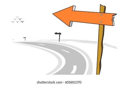 Wooden arrow sign post, left curve road, vector illustration
