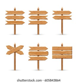 Wooden arrow signs board set. Vector wood signboards plank road