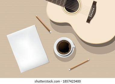Wooden background features acoustic guitar, paper, pencil and coffee cup placed next to an acoustic guitar for design ideas,vector concept design