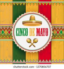 Wooden background with mexican ornaments for the Cinco de Mayo. Eps 10 vector file.