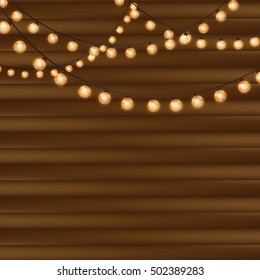 Wooden background with vintage garlands, Vector EPS10, Christmas lights