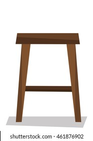 Wooden backless stool vector flat design illustration isolated on white background.