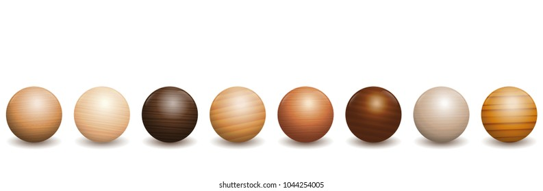 Wooden balls. Different wood types - variety of eight polished, varnished textured samples - brown, dark, gray, light, red or yellow decor models with reflections of light and shadow.