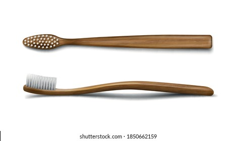 Wooden or bamboo toothbrush mockup, dental care and oral hygiene stomatological product, wood toiletries templates, wood tooth brush isolated on white background. Realistic 3d vector illustration