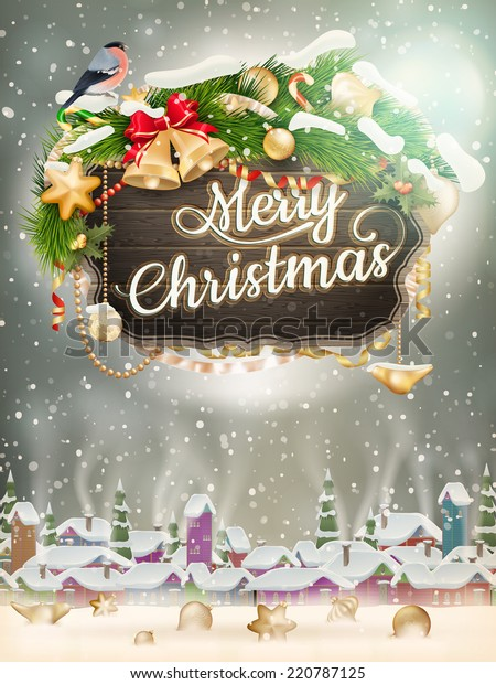 Wooden banner with Christmas Fir-tree branches. EPS 10 vector file included