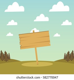 Wooden banner on a background of forest and sky with clouds. Vector illustration