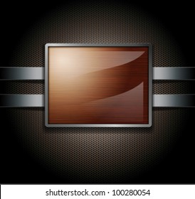 Wooden banner on a metal perforated background