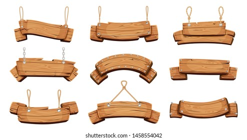 Wooden banners. Blank signboards with chains ropes and bolts vector tablet banners. Wood blank banner hanging, empty signboard illustration