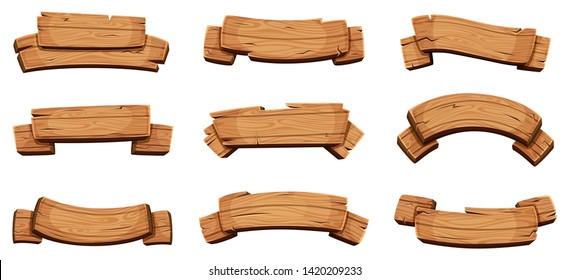 Wooden banners. Rustic signboards and direction boards wooden blank ribbons vector design template. Textured billboard collection, panel plywood various illustration