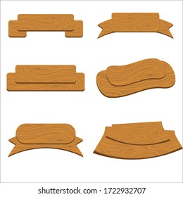 Wooden banners set. Isolated vector illustration