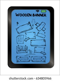 Wooden banners set on background plate. Free hand drawn. Vector illustration.