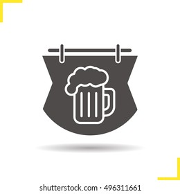 Wooden bar sign icon. Tavern. Drop shadow silhouette symbol. Pub signboard with foamy beer glass. Negative space. Vector isolated illustration