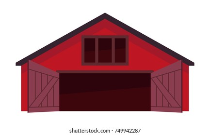 Wooden barn or a farm with open doors, flat vector icon on white background.