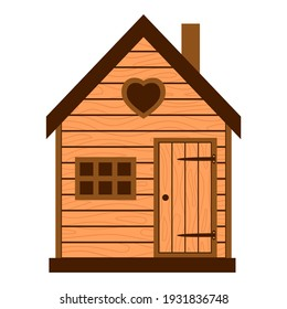 Wooden barn, rustic house with window and closed door. Country house, barn. A children's house. Vector illustration in a flat style isolated on a white background