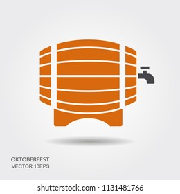Wooden barrel of beer logo. Flat vector icon for oktoberfest