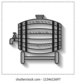 Wooden barrel for beer, water and beverages. Flat icon for site, business. Vector illustration