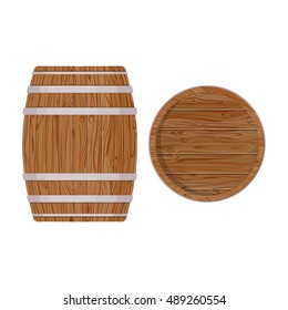 Wooden barrel with iron rings. Isolated on white background. Vector wood beer barrel