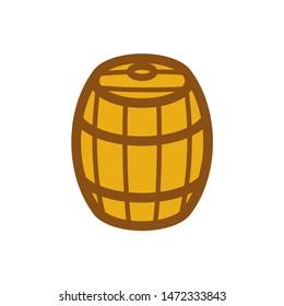 Wooden barrel isolated. cask vector illustration. wood keg