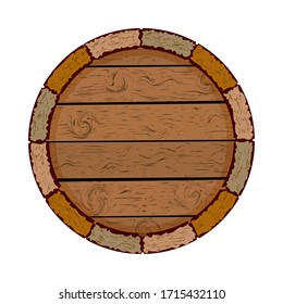 Wooden barrel isolated on white background. Cask icon. Blank circle board. Wooden keg with copy space for emblems, package, label or icon. Wooden barrels for storing for alcohol drinks. Stock vector