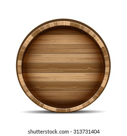 Wooden barrel isolated on white background.