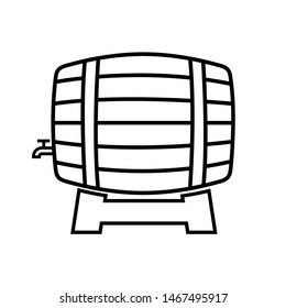 Wooden barrel line icon, logo isolated on white background