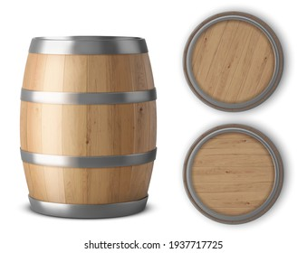 Wooden barrel realistic of isolated white background vector illustration