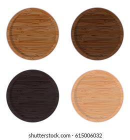 Wooden barrel ring top view. Isolated on white background. Vector wood beer barrel eps10
